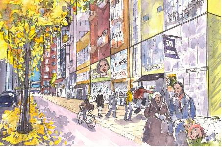 Stråket i Nils Ericsonsgatans förlängning där den nya bron syns i bakgrunden. Illustration ur planhandlingarna (Johanna Almgren, WSP)