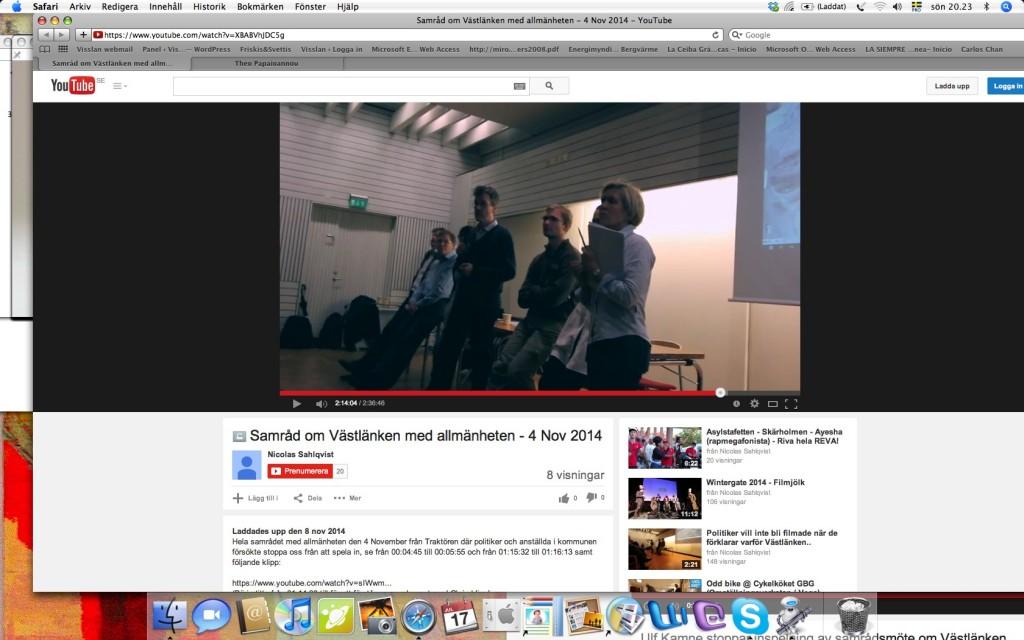 Videoklipp på Youtube visar hur kommunalrådet Ulf Kamne (MP) försöker hindra att ett samrådsmöte om Västlänken filmas.