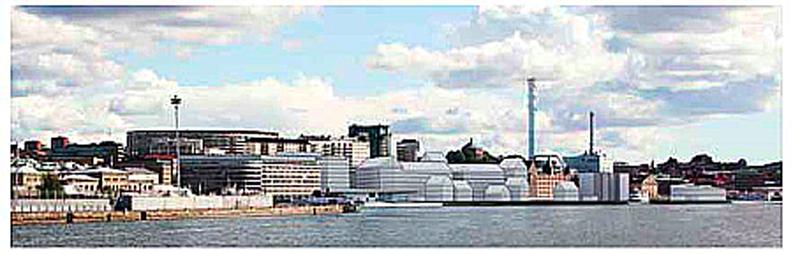 Stadsplanen för Skeppsbron fullt utbyggd gör att utsikten från Otterhällan försämras. Skiss: Erséus arktekter.