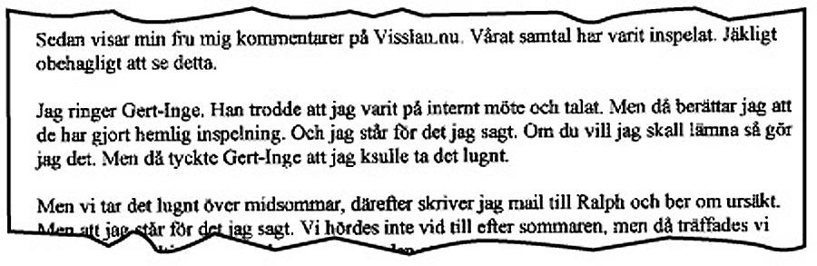 Utskrift av intervju med Frank Andersson. Klicka på texten för att förstora!