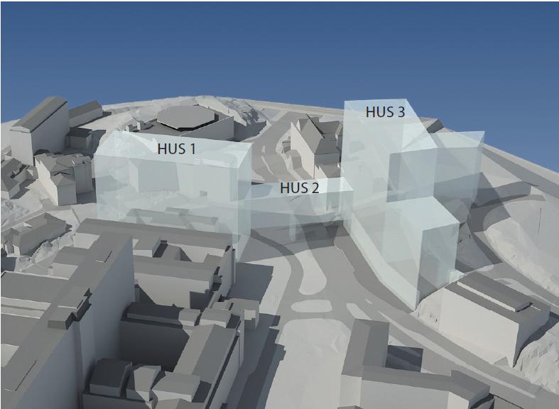 Visionsbild: Nya byggfnaden tvärsöver Per Dubbsgatan, och byggnad 1 står just där Per Dubbshuset finns i dag.
