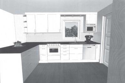 Skiss till en del av köksinredningen. Det svarta är en stor marmorskiva.