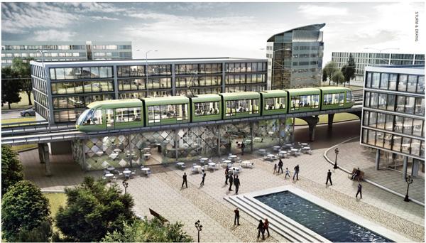 Visionsbild av framtida stadsbana